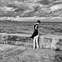 Ballerinas from the National Ballet of Cuba directed by world reknown Alicia Alonso dance on the Malecon.