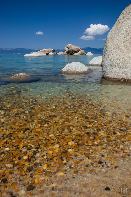 """Pebbles at Whale Beach 3"" - These pebbles were photographed along the shore of Whale Beach on the East shore of Lake Tahoe. Whale Rock can be seen in the distance."