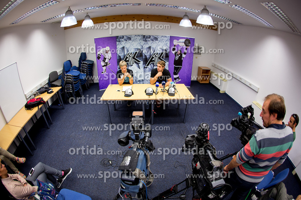 Anze Kopitar, NHL star and player of Los Angeles Kings and Luka Dolar during practice session and press conference before Kopitar's departure to USA, on August 28, 2014 in Ledna dvorana Bled, Slovenia. Photo by Matic Klansek Velej  / Sportida.com