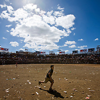 A lone boy runs in an empty ring that will explode with action as the night moves in during the annual festivities around the Santa Cruz fiesta.
