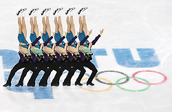 A multiple exposure picture of Maria Petrova and Alexei Tikhonov of Russi perform in the Free Skating (or Short Program) of the Pairs competition at the Sochi 2014 Olympic Games, Sochi, Russia, 19 February 2014.