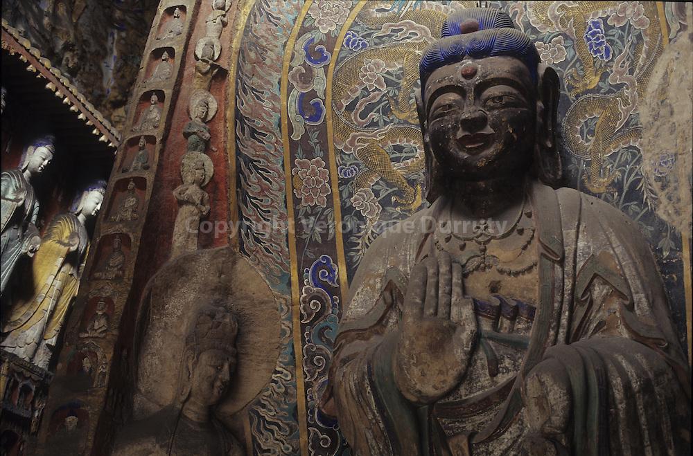 Sculpture de Bouddha, grottes de Yungang pres de Datong, Sichuan, Chine
