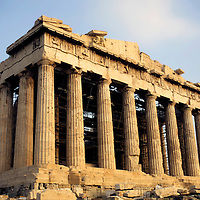 Europe, Greece; Athens; The Parthenon at the Acropolis in Athens.