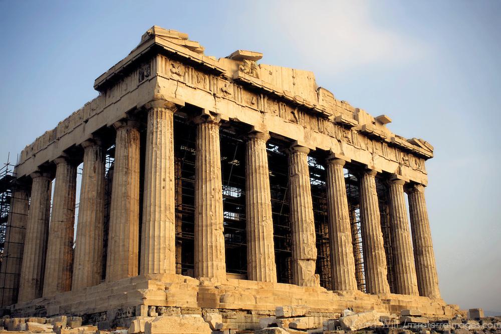 Europe, Greece; Athens; The Parthenon at the Acropolis in Athens.