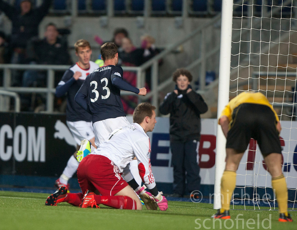 Falkirk's Rory Loy cele scoring their fourth goal.<br /> Falkirk 4 v 1 Livingston, Scottish Championship game played today at the Falkirk Stadium.<br /> &copy;Michael Schofield.