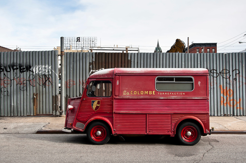La colombe torrefaction truck parked on a street of Red Hook, Brooklyn