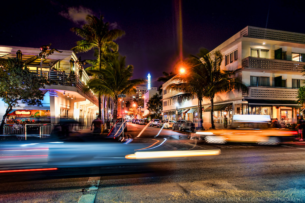 Night Scene along Ocean Drive