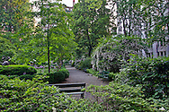 Gramercy Park is a small  private park in Manhattan, New York City, New York, USA, Path with Benches