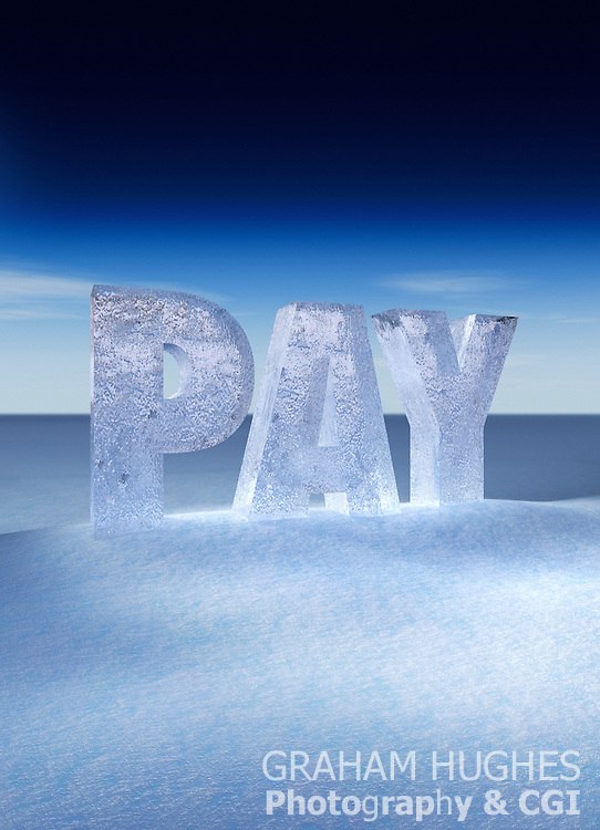 Pay letters made from ice in snowy winter landscape