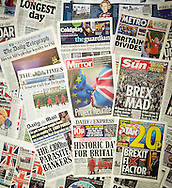 London, England - June 24, 2016: British newspaper front pages reporting on the day after the EU Referendum. Steve Meddle / Alamy Live news