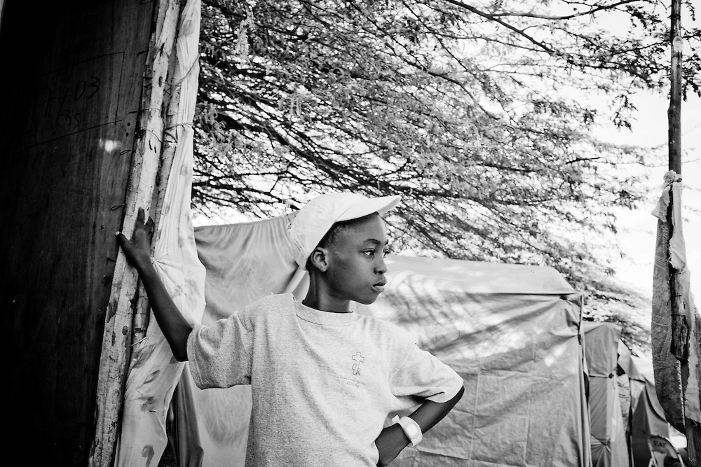 A boy in a camp for those displaced by the recent earthquake in Petionville, outside Port-au-Prince, Haiti.