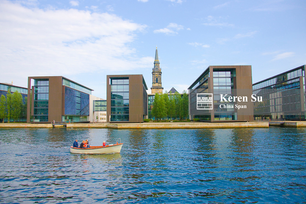 Modern architecture with church along the canal, Copenhagen, Denmark