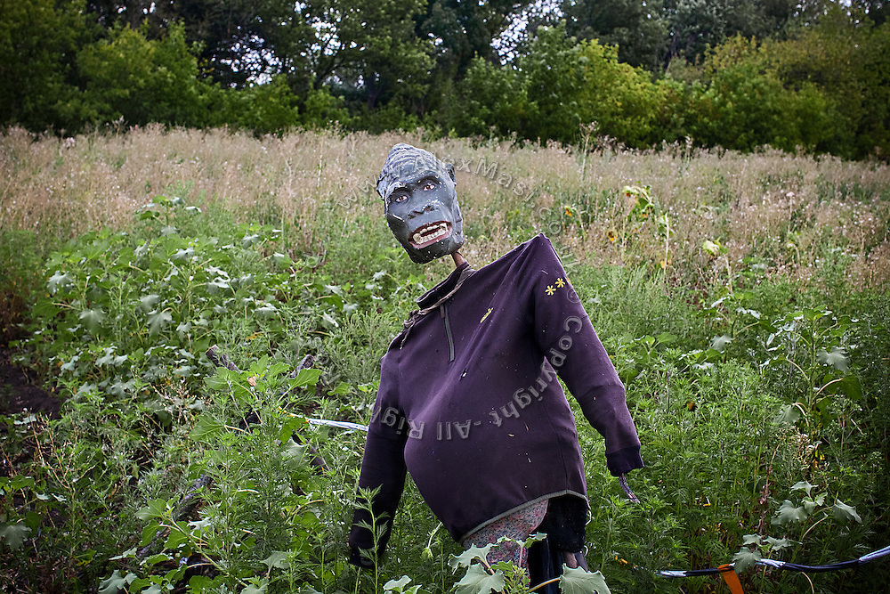 Soldiers have set up what they call 'Infinity Soldier', a gorilla-faced mannequin posing as one of them in a field, next to the trenches on the frontline of Hranitne, near Mariupol, southeast Ukraine.