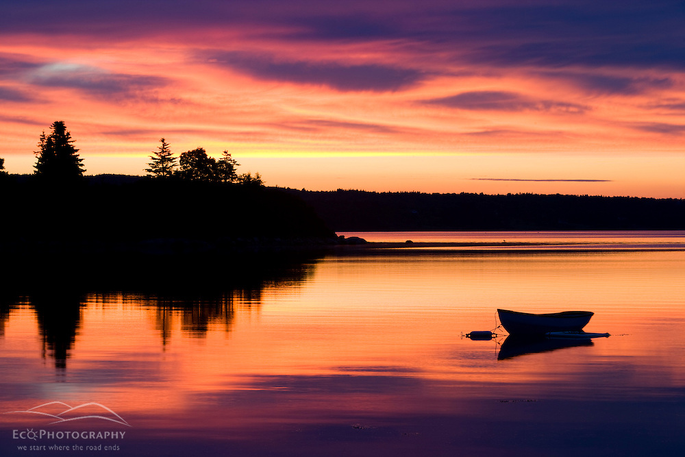 A skiff at sunrise in Eggemoggin Reach in Little Deer Isle, Maine.