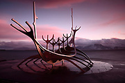 The Sun Voyager (Sólfar) sculpture, by Jón Gunnar Árnason, in Reykjavik, Iceland, just before Sunrise