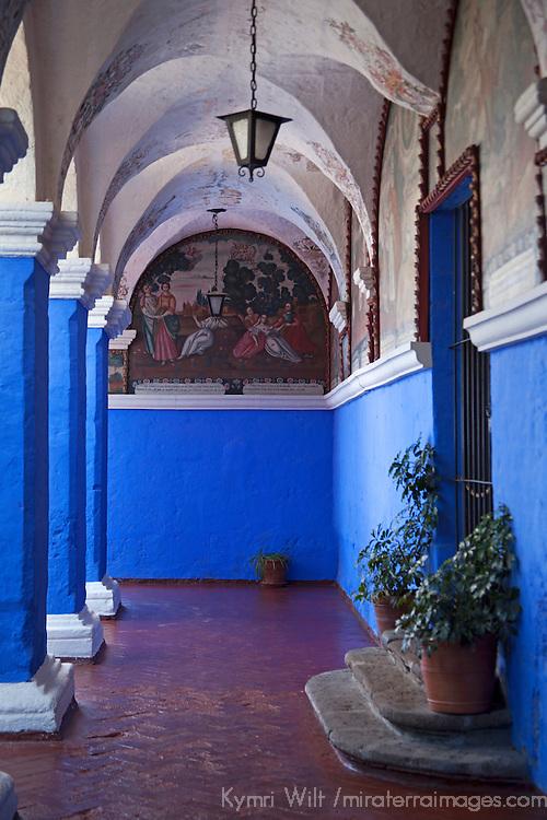 South America, Peru, Arequipa. Santa Catalina Convent Cloisters.