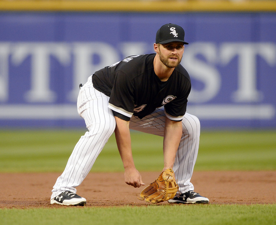 CHICAGO - APRIL 25:  Matt Davidson #24 of the Chicago White Sox fields against the Kansas City Royals on April 25, 2017 at Guaranteed Rate Field in Chicago, Illinois.  The White Sox defeated the Royals 10-5.  (Photo by Ron Vesely)   Subject:  Matt Davidson