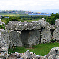 Europe, Ireland, Mullaghmore. Creevykeel Court Tomb, a neolithic burial chamber.