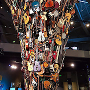 Guitar tower artwork. As of 2016, the EMP Museum is now called MOPOP (Museum of Pop Culture), Seattle, Washington, USA.