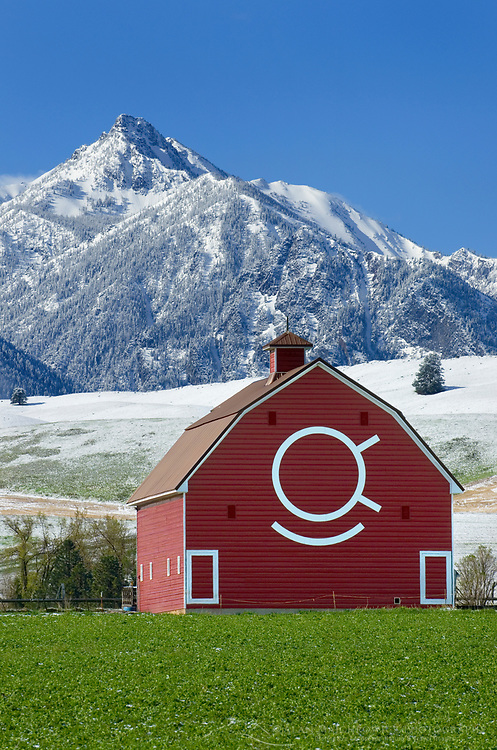 Classic red barn in the Wallowa Valley of Northeast Oregon