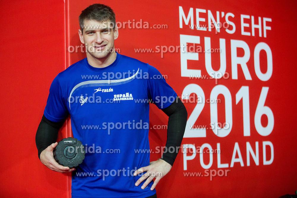 Julen Akizu Aguinagalde after the practice session of Team Spain on Day 1 of Men's EHF EURO 2016, on January 15, 2016 in Centennial Hall, Wroclaw, Poland. Photo by Vid Ponikvar / Sportida