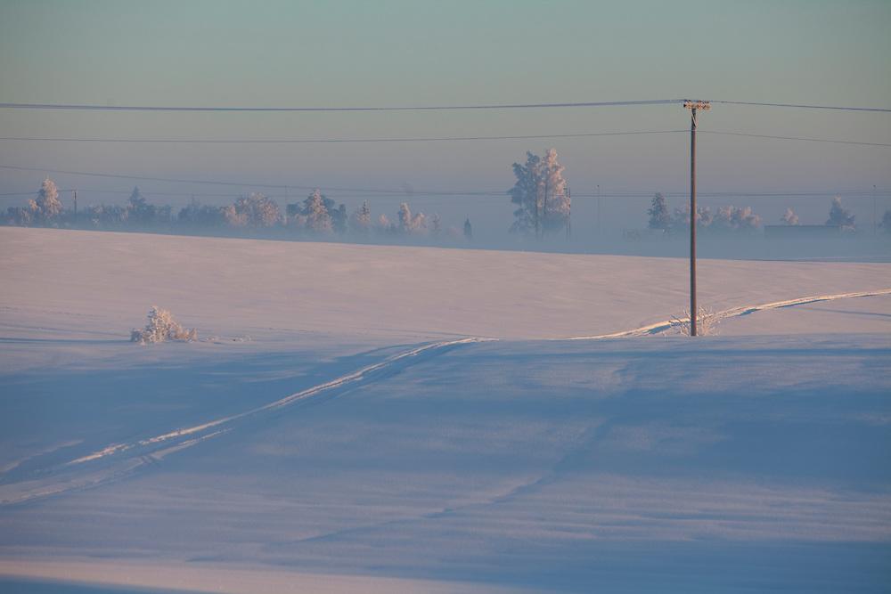 Norway Winter freezing cold snow january sun sunny Stange Norwegian winter.field fields power mast pole Norwegian winterscape Norwegian Winterscapes