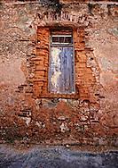 Weathered wall and window, Playas del Este, Havana, Cuba.