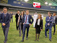 2-3- 2016  DOHA QATAR - Crownprincess Mary and Crownprince Frederik The Crown Prince Couple will have a guided tour around Aspire Dome and watch training sessions and talk to some of the athletes. Crownprincess Mary and Crownprince Frederik during a 2 day business visit to Qatar . COPYRIGHT ROBIN UTRECHT<br /> Kroonprinses Mary en kroonprins Fredrik uit denemarken tijdens een twee daags handelsmissie bezoek aan qatar