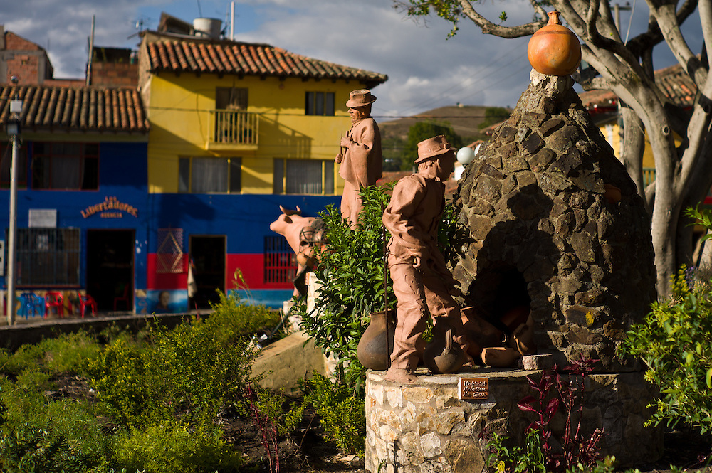 Clay pottery statues in Ráquira, Boyacá, Colombia.