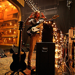The post-punk band The Killers perform at the Hammerstein Ballroom at Manhattan Center Studios in New York, N.Y. on Oct. 24, 2008. Mark Stoermer, bass guitar and vocals for The Killers, motions to assistants during sound check.