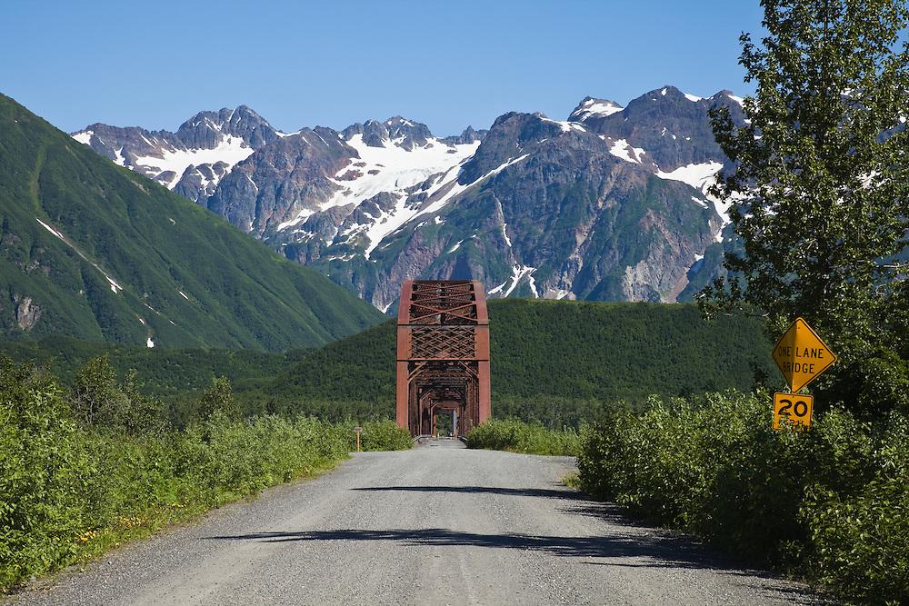 Million Dollar Bridge in Childs Glacier Million Dollar Bridge Recreation Area in Copper River Delta of Prince William Sound near Cordova in Southcentral Alaska. Morning. Summer.