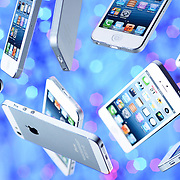 A digital montage of falling mobile phones