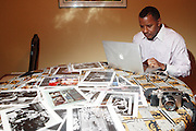 Famed Jamel Shabazz at his residence on Febuary 19, 2010 in Long Island, NY..Jamel Shabazz has been documenting the 'Urban Life' for.over 30 years. Born and raised in Brooklyn, NY he picked up his first camera at the age of 15 and proceeded to record the world around him. Jamel has drawn inspiration from the great James Van Der Zee, Gordon Parks, Robert Capa, Chester Higgins and Eli Reed. The author of 3 monographs, 'Back in the Days',.'The Last Sunday in June' and 'A Time Before Crack, Jamel is presently working on his fourth book, entitled 'The 90's'.