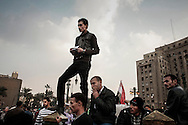 Days before first parliamentary elections since former President Mubarak stepped down, protesters gather again on Tahrir Square while clashes occurred with riot police on nearby streets.  November 25, 2011 in Cairo, Egypt.