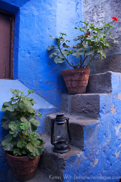 South America, Peru, Arequipa. Geraniums on Steps at Santa Catalina Monastery.