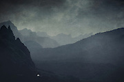 Mountains near Cap Formentor / Mallorca / Spain in evening dusk - texturized photograph
