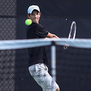Tower Hill Robby Ward attempts to connect with the ball during a DIAA Tennis State final match Tuesday, May. 26, 2015 at UD Field House in Newark, DEL