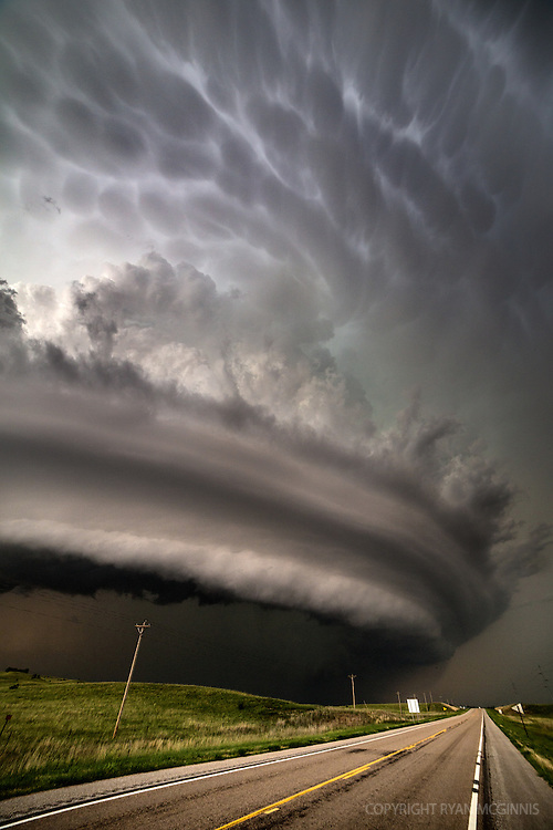 A large HP supercell churns north of Burwell, Nebraska, June 16, 2014.  This storm produced several rain-wrapped tornadoes earlier in its lifecycle.