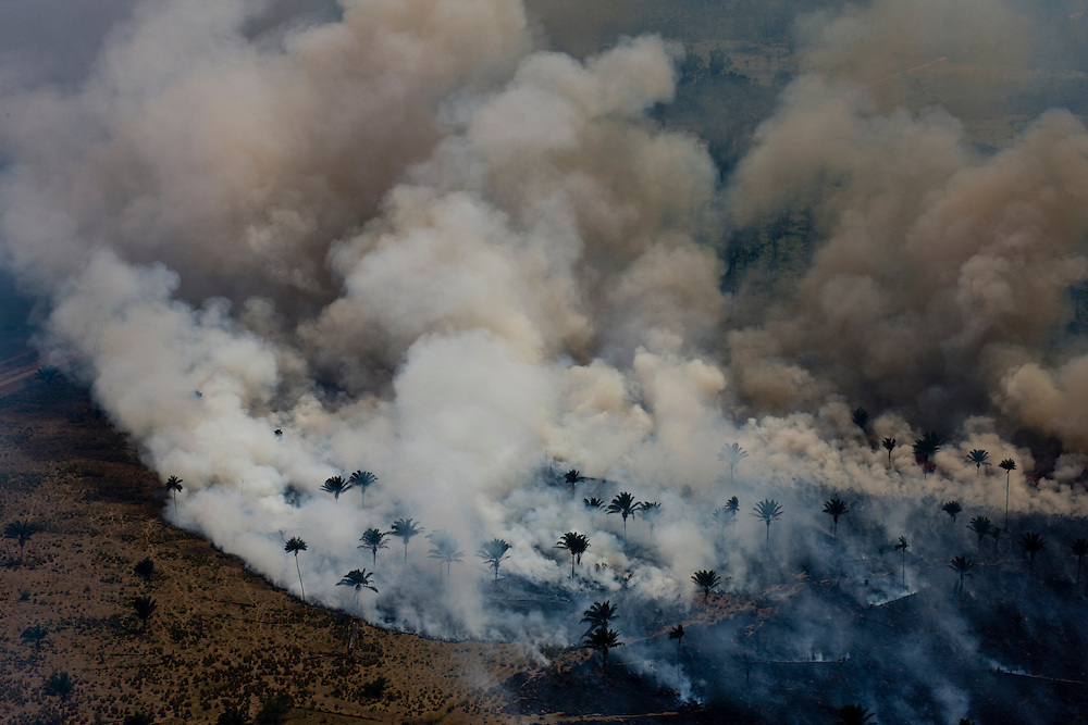 Man made fires to clear the land for cattle or crops..Daniel Beltra/Greenpeace