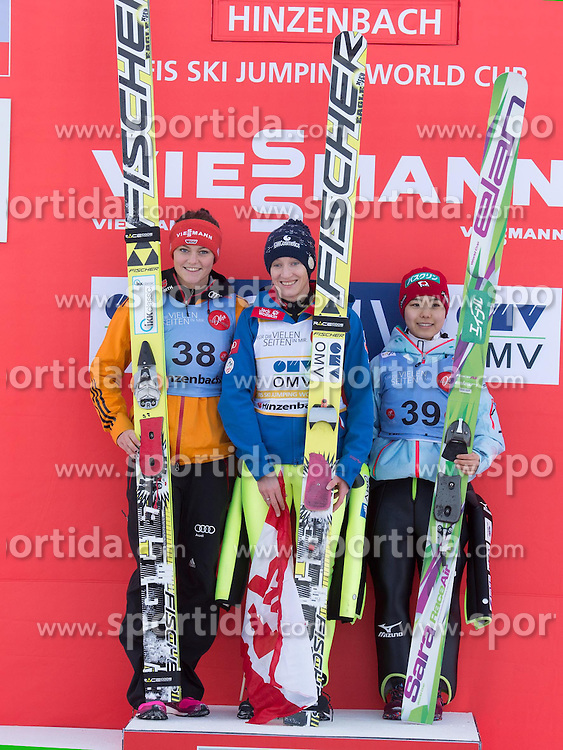 31.01.2015, Energie AG Skisprung Arena, Hinzenbach, AUT, FIS Weltcup Ski Sprung, Hinzenbach, Damen, Wettkampf im Bild das Siegerpodest v.l. Carina Vogt (GER), Daniela Iraschko-Stolz (AUT), Sara Takanashi (JPN) // during FIS Ski Jumping World Cup Ladies at the Energie AG Skisprung Arena, Hinzenbach, Austria on 2015/01/31. EXPA Pictures © 2015, PhotoCredit: EXPA/ Reinhard Eisenbauer
