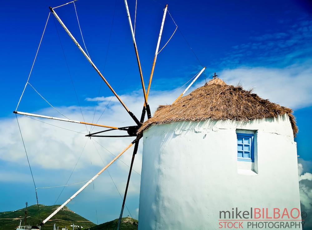 windmill in Parikia village. Paros island, Cyclades islands, Aegean Sea, Greece, Europe.