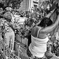 Cubans praying to Amelia the miracle virgin, at Havana¥s cemetery during mothers day