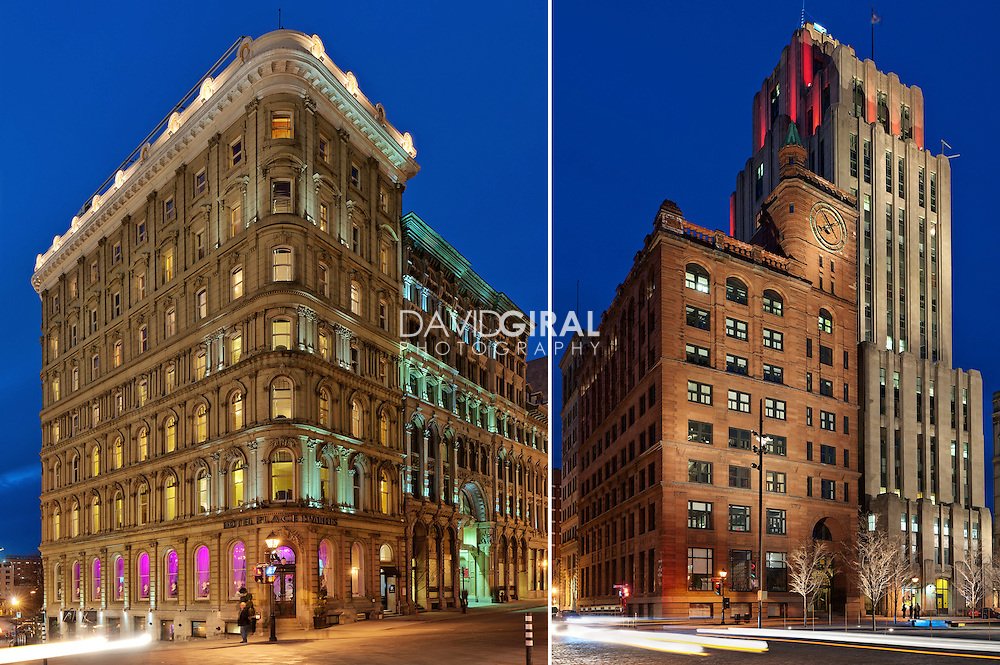 Architecture Photography: Hotel Place D'armes and New York Life Building, Place d'armes, Old historical montreal, Quebec, Canada