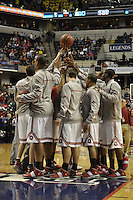 Members of the Ohio State basketball team huddle before the Big Ten Tournament semifinals in Indianapolis, on March, 11, 2011, at Conseco Fieldhouse. Ohio State defeated Michigan 68-61.
