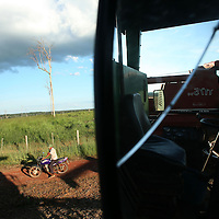Workers wait for a truck to come pick up harvested soybeans in a field just outside of Marcelândia, in Mato Grosso state, in Brazil on April 6, 2008. (Photo/Scott Dalton).