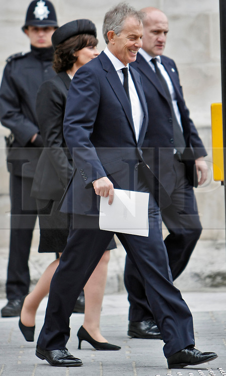 © Licensed to London News Pictures. 17/04/2013. London, U.K..Ex Labour prime minister Tony Blair (front) leaves st. pauls cathedral after the ceremonial Funeral with military honours of Baroness Thatcher , the first female Prime Minister of United Kingdom (today 17/4/2013), who died last week of a stroke..Photo credit : Rich Bowen/LNP