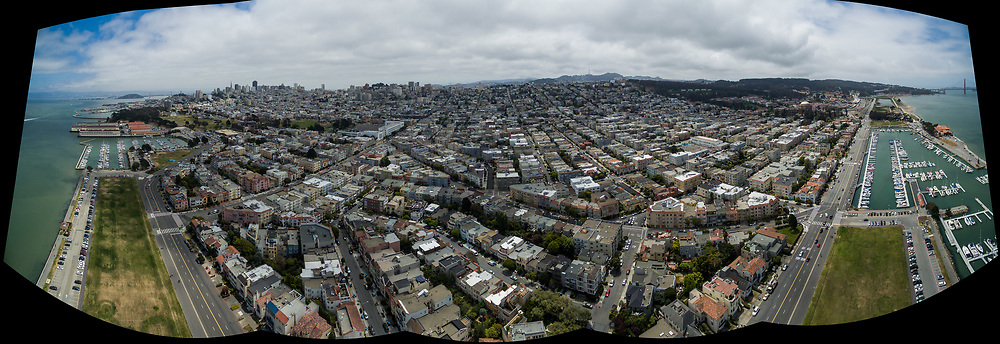 Aerial panorama of San Francisco shot from Marina Green Park using a DJI Phantom 3 quadcopter.