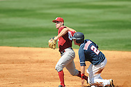 Alabama's Jon Kelton (10) forces out Ole Miss' Alex Yarbrough (2) and throws for a double play at Oxford-University Stadium in Oxford, Miss. on Sunday, March 20, 2011.  (AP Photo/Oxford Eagle, Bruce Newman)