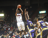 "Ole Miss forward Terrance Henry (1) shoots at the C.M. ""Tad"" Smith Coliseum in Oxford, Miss. on Thursday, December 29, 2010. Ole Miss won 100-62. (AP Photo/Oxford Eagle, Bruce Newman)"