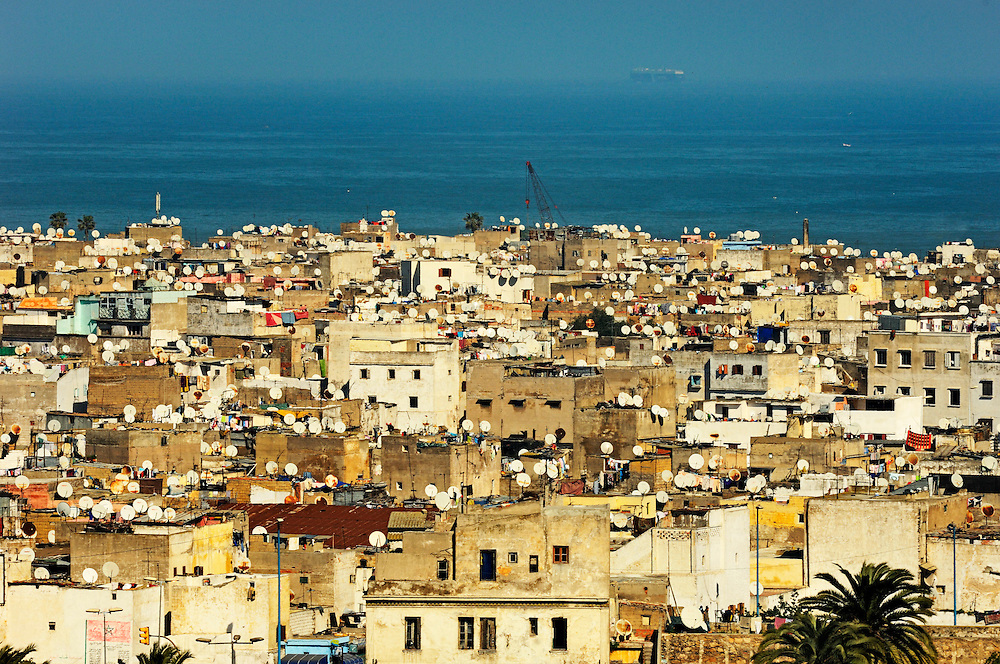 Viw over Casablanca rooftops in the medina to the Atlantic.